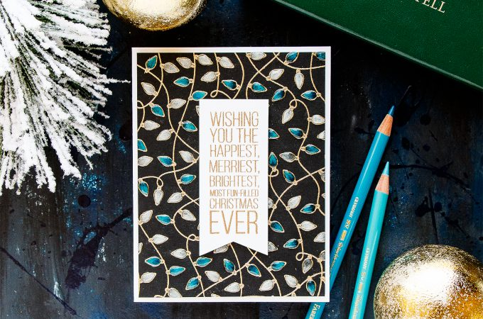 Simon Says Stamp | Christmas Lights on Black in Blue & White. Christmas Card by Yana Smakula #stamping #pencilcoloring #cardmaking
