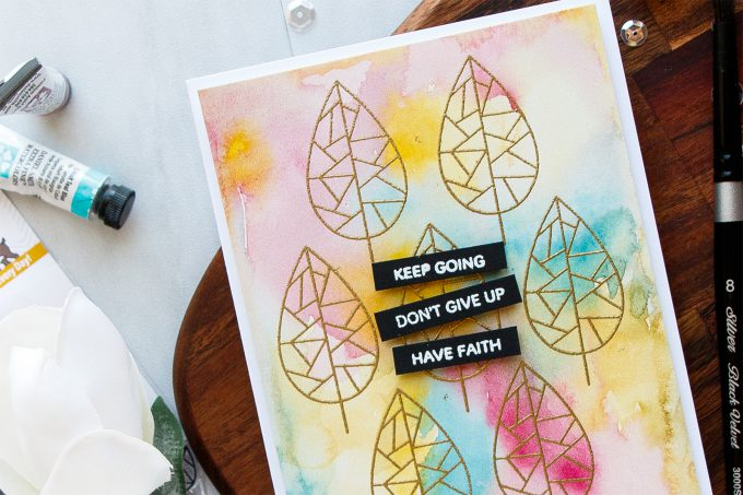 Simon Says Stamp | Keep Going - Easy Watercolor Background Card. #stamping #simonsaysstamp #fractileleaves