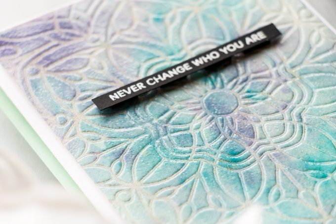 Simon Says Stamp | Never Change Who You Are - Stencilled Heat Embossed Background card by Yana Smakula #simonsaysstamp #cardmaking #handmadecard