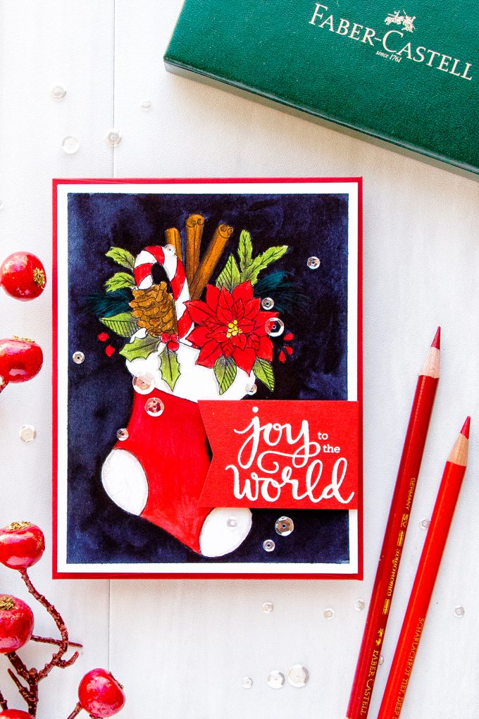 Simon Says Stamp | Suzy's Classical Christmas Watercolor Prints - Joy To The Words Pencil & Watercolor card by Yana Smakula #simonsaysstamp #christmascard #cardmaking