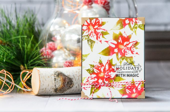 Spellbinders   Faux Watercolor Stamping with Poinsettia Holiday 3D Shading Stamp. Video tutorial. Handmade card by Yana Smakula #stamping #spellbinders #christmascard