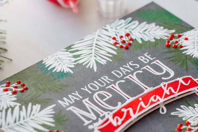 WPlus9 | Pencil Colored and Heat Embossed Holiday Card