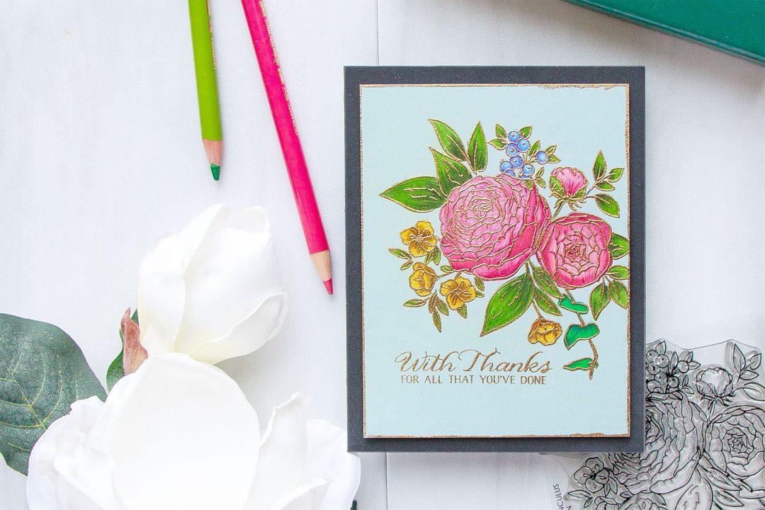 WPlus9   Pencil Colored Ranunculus Bouquet Thank You Card #yanasmakula #pencilcoloring #wplus9
