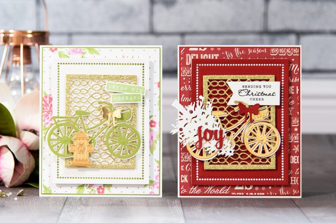 Spellbinders | Layered Dimensional Die Cutting. Episode #4 – Christmas Bicycle Card by Yana Smakula using S2-266 Ho Ho Ho, S3-272 Build a Stocking, S3-282 Bicycle, S4-793 Gossamer Knot Ensemble, S4-822 Deck the Halls, S5-308 Hemstitch Rectangles Dies #spellbinders #diecutting #christmascard #handmadecard