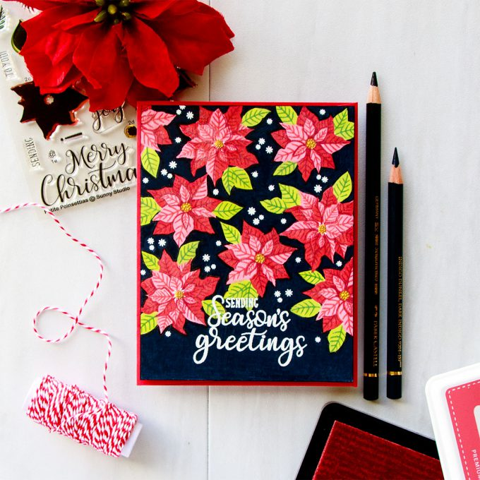 Sunny Studio | One Layer Vibrant Christmas Poinsettia Card on Dark Background. Video