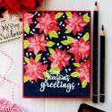 Sunny Studio | One Layer Vibrant Christmas Poinsettia Card on Dark Background. Video