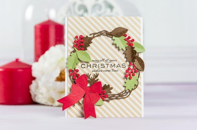 Spellbinders | Christmas Wishes Wreath Card by Yana Smakula using S4-845 Wreath, S5-338 Wreath Elements and S4-844 Winter Canopy and Elements dies #cardmaking #spellbinders #christmascard