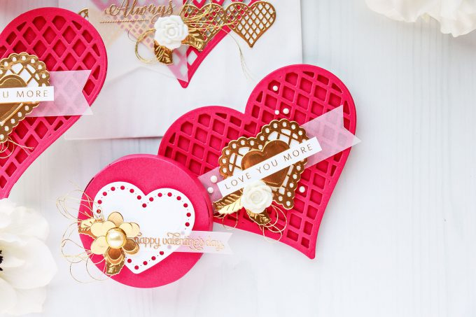 Shaped Valentine's Day Cards & Treat Boxes | Spellbinders January 2018 Large Die Of The Month. Project by Yana Smakula. #cardmaking #diecutting #stamping