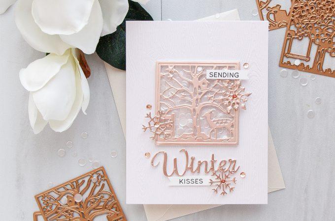 Spellbinders | Winter Wishes Clean & Simple Shaker Card by Yana Smakula for Simon Says Stamp. Using Spellbinders Four Seasons Silhouette dies S5-337 #wntercard #shaker #cardmaking #spellbinders #diecutting