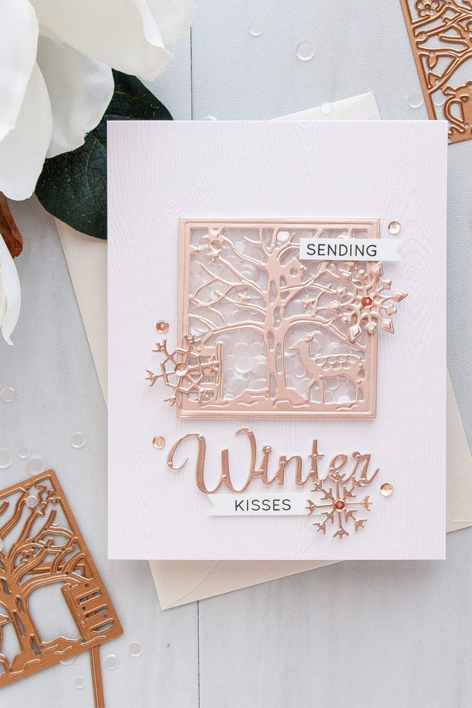 Spellbinders | Winter Wishes Clean & Simple Shaker Card by Yana Smakula for Simon Says Stamp. Using Spellbinders Four Seasons Silhouette dies S5-337 #wntercard #shaker #cardmaking #spellbinders #diecutting