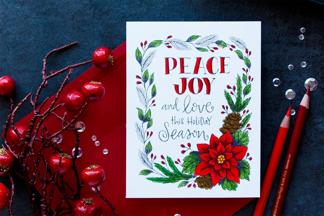 Simon Says Stamp | Pencil Colored Suzy's Watercolor Card - Peace & Joy Card