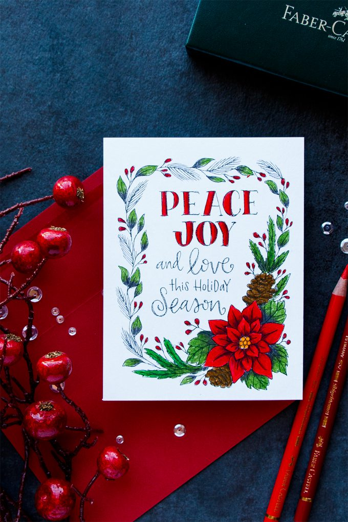 Simon Says Stamp | Polychromos Pencil Colored Suzy's Watercolor Print - Peace & Joy Card. Project by Yana Smakula #cardmaking #simonsaysstamp #christmascard #pencilcoloring
