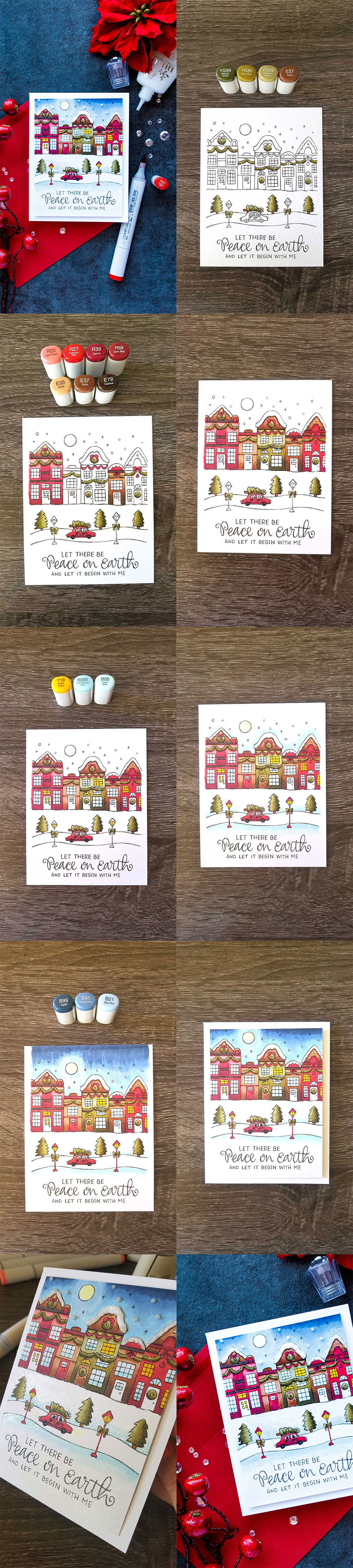 Simon Says Stamp | Copic Colored Suzy's Watercolor Print - Peace on Earth Card. Project by Yana Smakula #coloring #christmascard #simonsaysstamp