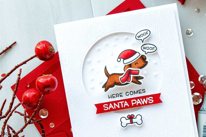 Simon Says Stamp | Here Comes Santa Paws Clean & Simple Christmas Card by Yana Smakula #simonsaysstamp #lawnfawn #christmascard #stamping