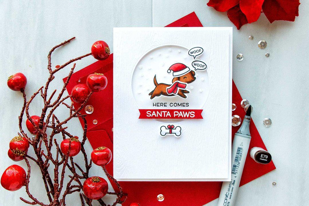 Simon Says Stamp | Here Comes Santa Paws Clean & Simple Christmas Card by Yana Smakula #simonsaysstamp #lawnfawn #christmascard #stamping