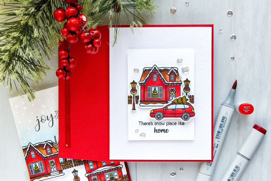 Clean & Simple There's Snow Place Like Home Christmas Card by Yana Smakula. Yippee For Yana video series for Simon Says Stamp Blog #sunnystudio #cardmaking #christmascard #copiccoloring