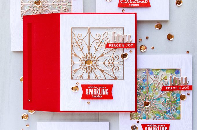 Spellbinders | Snowflake Window Shaker Cards by Yana Smakula. Video tutorial. Cards using Snowflake Snippets S5-301 dies. #cardmaking #shakercard #yanasmakula #spellbinders