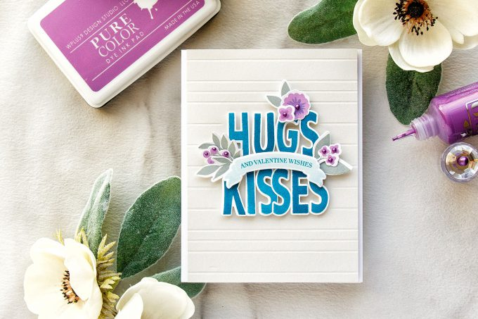 WPlus9 | Friendship Valentine Card - Hugs & Kisses & Valentine Wishes. Video tutorial by Yana Smakula featuring WPlus9 Whimsy Alpha and Valentine Wishes stamps #lovecard #cardmaking #stamping #wplus9