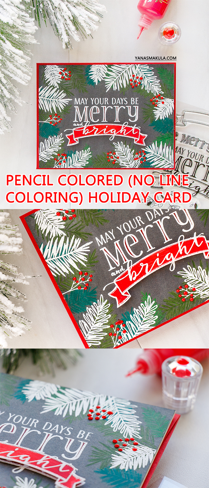 WPlus9   Pencil Colored and Heat Embossed Holiday Card