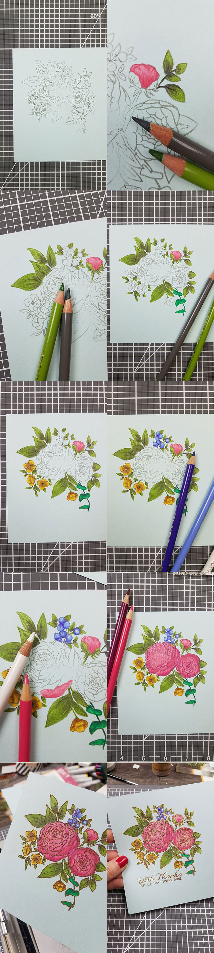 WPlus9 | Pencil Colored Ranunculus Bouquet Thank You Card #yanasmakula #pencilcoloring #wplus9
