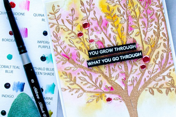 Simon Says Stamp | We Grow Through - Watercolor Tree Encouragement Card by Yana Smakula using Brushed Branches Background Sss101792 stamp #simonsaysstamp #sssfriends #watercolorcard #handmadecard #encouragementcard