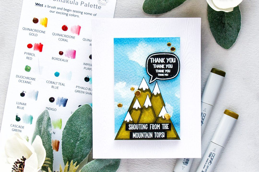 Simon Says Stamp | Echoing Thank You Card with Shouting From The Rooftops Set. Handmade card by Yana Smakula #simonsaysstamp #stamping #sssfriends #cardmaking #watercolorsky