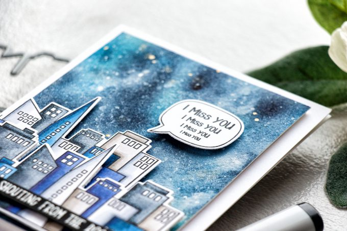 Simon Says Stamp | Shouting From The Rooftops - Miss You Card by Yana Smakula. Galaxy Background + Copic Colored Skyscrapers #simonsaysstamp #sssfriends #watercolorsky #nightskywatercolor #cardmaking #handmadecard