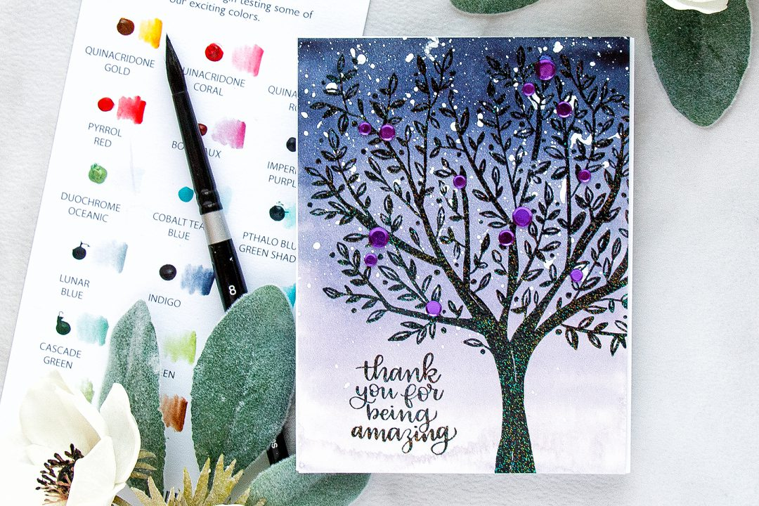 Simon Says Stamp | Watercolor Tree - Thank You For Being Amazing Card using BRUSHED BRANCHES Background SSS101792 stamp. #yanasmakula #simonsaysstamp #sssfriends #friendhsipcard #watercolortree