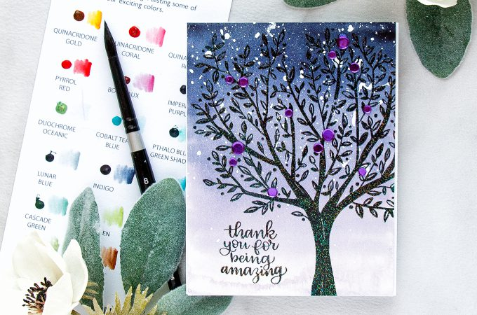 Simon Says Stamp   Watercolor Tree - Thank You For Being Amazing Card using BRUSHED BRANCHES Background SSS101792 stamp. #yanasmakula #simonsaysstamp #sssfriends #friendhsipcard #watercolortree