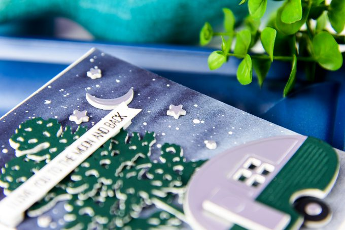 Spellbinders | Love You To The Moon & Back Watercolor Camper Card (Photo Tutorial) by Yana Smakula using Spellbinders S3-296 Die D-Lites Build a Camper Etched Dies, S3-255 Shapeabilities Die D-Lites Canoeing Etched Dies. #spellbinders #neverstopmaking #diecutting #handmadecard #cardsforguys #masculinevalentine #campercard
