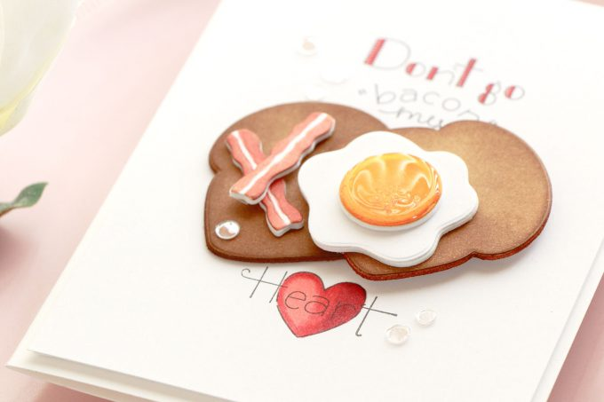 "Spellbinders | Don't Go ""Bacon"" My Heart card by Yana Smakula using Spellbinders Breakfast Club Cling Stamp and Die Set #spellbinders #cardmaking"