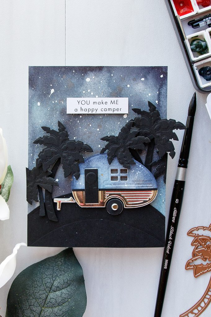 Spellbinders | You Make Me A Happy Camper Card using S3-296 Spellbinders Build a Camper Dies #spellbinders #neverstaopmaking #diecutting #handmadecard