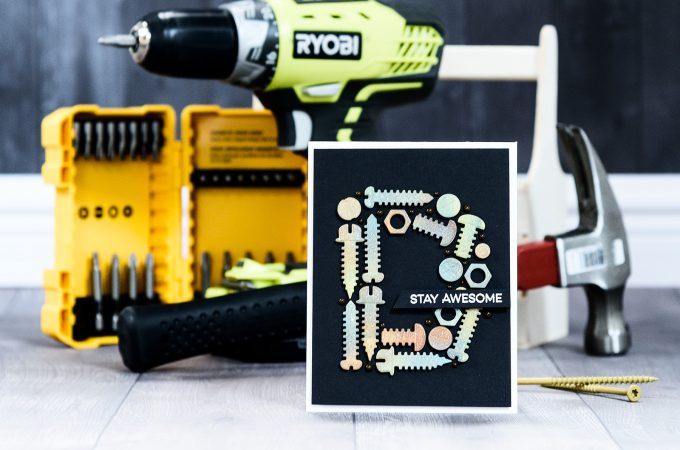 Spellbinders | Nuts & Bolts Masculine Monogram Card using S2-288 Bolts & Nuts by Yana Smakula for Spellbinders #spellbinders #cardmaking #diecutting #guycard #masculinecard