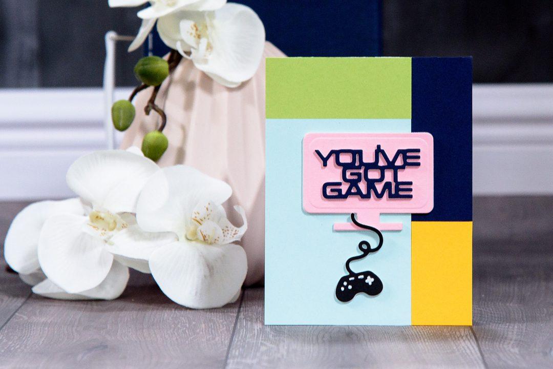 Spellbinders | You've Got Game Card using S3-310 You've Got Game dies. Handmade card by Yana Smakula #spellbinders #diecutting #cardmaking