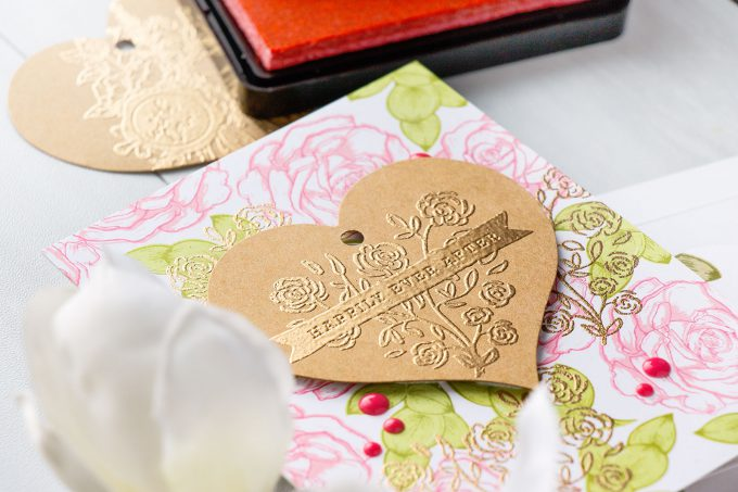Hero Arts | Inlaid Heat Embossing. Video. January My Monthly Hero Blog Hop. Happily Ever After Cards using Rose Heart stamp. Project by Yana Smakula #heroarts #mmh #stamping