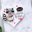 Hero Arts   Heart Shaped Tags + Cards. Video. January My Monthly Hero Blog Hop. Racoon cards by Yana Smakula #heroarts #mmh #stamping