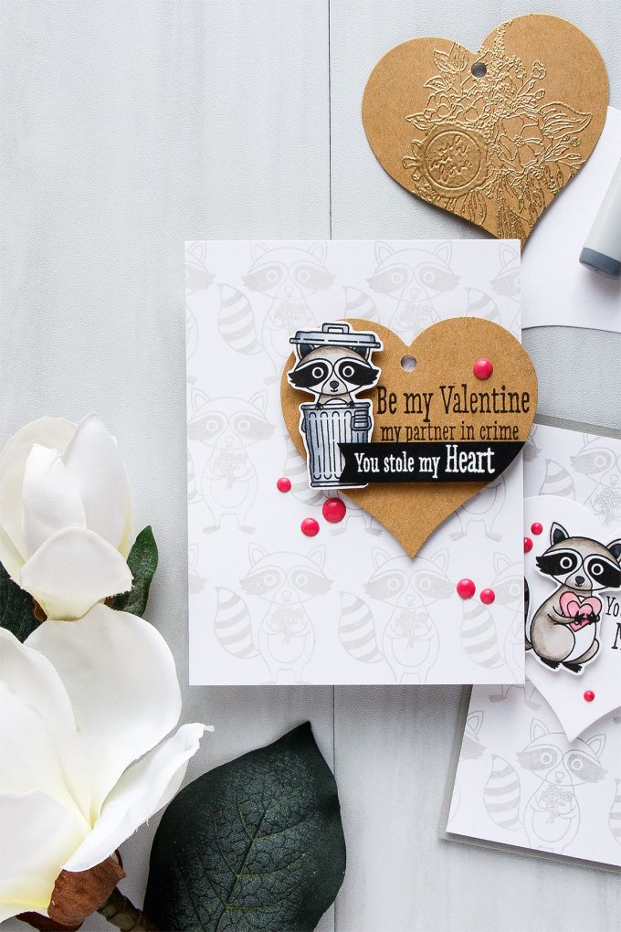 Hero Arts | Heart Shaped Tags + Cards. Video. January My Monthly Hero Blog Hop. Racoon cards by Yana Smakula #heroarts #mmh #stamping