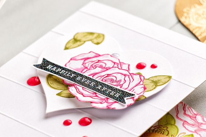 Hero Arts | Heart Shaped Tags + Cards. Video. January My Monthly Hero Blog Hop. Color Layering Rose cards by Yana Smakula #heroarts #mmh #stamping