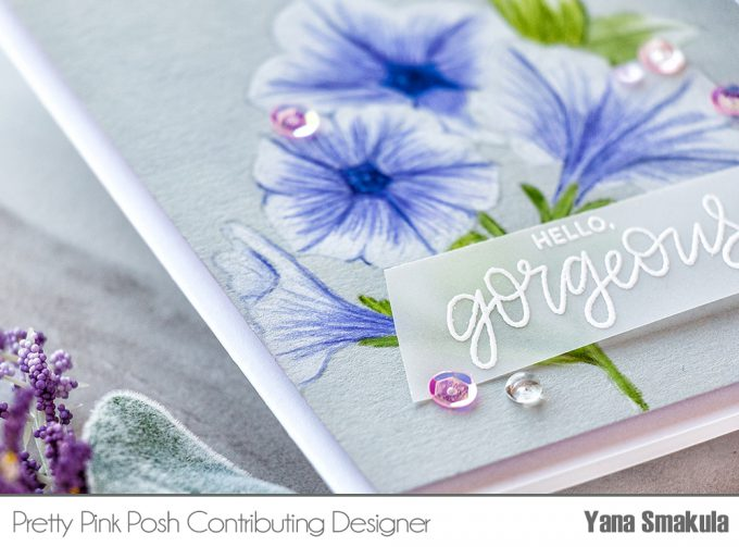 Pretty Pink Posh | No Line Pretty Petunias Pencil Coloring. Video tutorial by Yana Smakula #cardmaking #pencilcoloring #polychromoscoloring #handmadecard