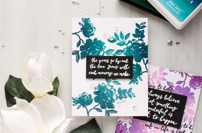 Reverse Confetti | Floral Ombre Cards. Blog Hop