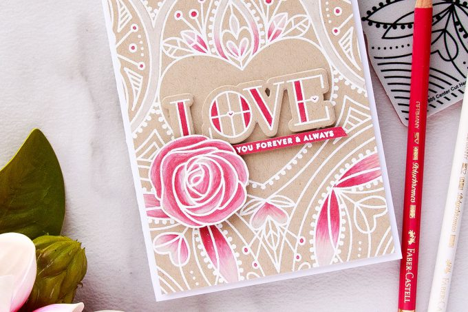 Simon Says Stamp | Center Cut Heart Background - Selective Polychromos Colored Love Card by Yana Smakula. Video tutorial. #valentinesday #lovecard #simonsaysstamp #sss #stamping #pencilcoloring
