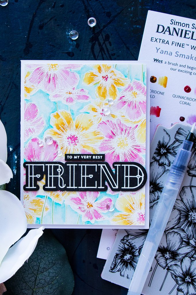 Simon Says Stamp | How To Use Daniel Smith Dot Chart Watercolor Sheet - Watercoloring Cosmos Background - To My Very Best Friend Card by Yana Smakula. Video tutorial #simonsaysstamp #ssslove #stamping #watercolor #handmadecard