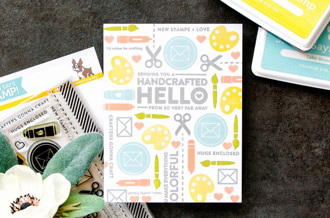 Simon Says Stamp | Crafty Friend - Handcrafter Hello Card. Pattern Stamping Basics. Video tutorial. February Card Kit #simonsaysstamp #sssck #stamping #patternstamping