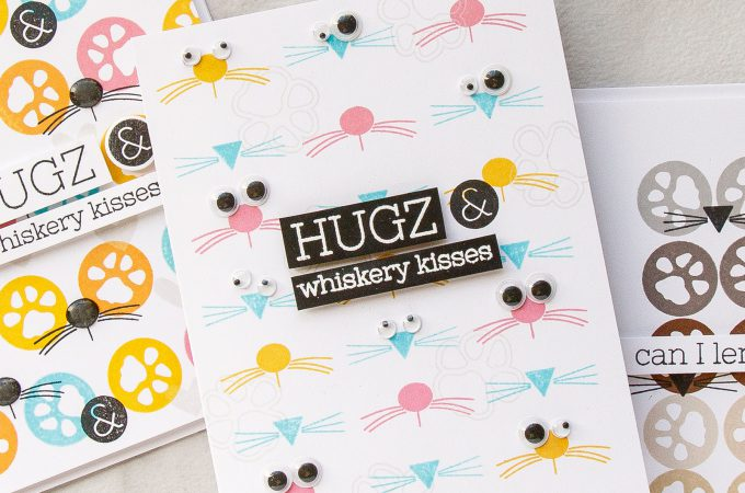Simon Says Stamp | One Stamp Set - 4 Cards & 3 Stamped Background Ideas using Paws-Itivity Stamp set. Hugs & Whiskery Kisses cards by Yana Smakula #simonsaysstamp #sssfriends #stamping #stampedpattern
