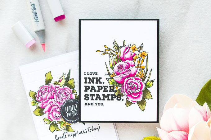 Altenew | Flick Style Copic Coloring with Altenew Florals using Forever & Always and Crafty Life Stamp sets. Projects by Yana Smakula. Video #altenew #cardmaking #yanasmakula #flickstylecoloring #handmadecard