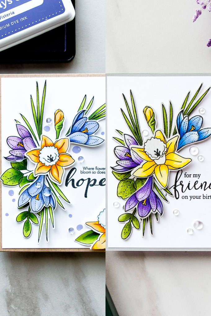 Simon Says Stamp | Spring Flowers Take 2 - Polychromos vs Copics. Handmade Floral Birthday Card colored using Polychromos using More Spring Flowers stamp set by Simon Says Stamp SSS101703 #stamping #adultcoloring #cardmaking #handmadecard #simonsaysstamp
