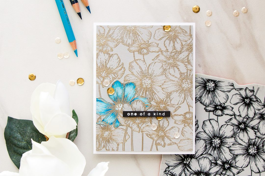 Simon Says Stamp | Polychromos Pencils Coloring Basics for Cardmakers. Video tutorial by Yana Smakula. Cosmos Background One Of A Kind Card. #adultcoloring #cardmaking #pencilcoloring #polychromoscoloring #handmadecard