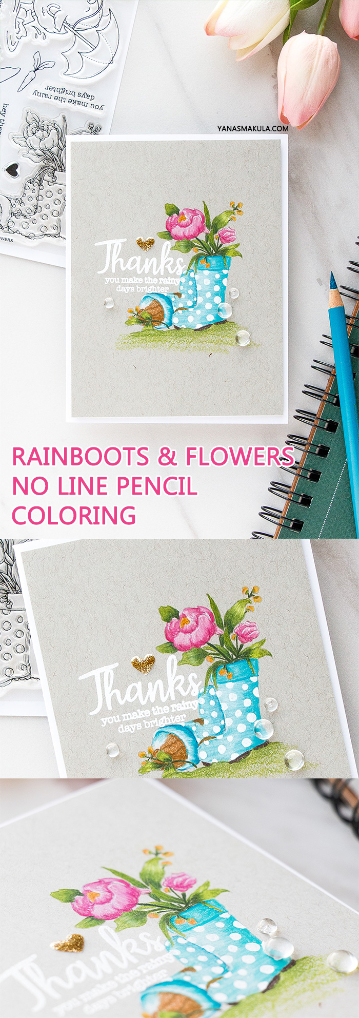 Simon Says Stamp | Rainboots & Flowers - No Line Pencil Coloring using Simon Says Clear Stamps SHOWERS & FLOWERS SSS101822 #stamping #adultcoloring #nolinecoloring #springcard #cardmaking #sssck