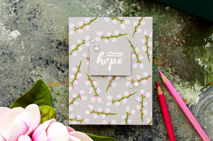 Simon Says Stamp | Where Flowers Bloom - So Does Hope. Polychromos Coloring. Handmade card by Yana Smakula #stamping #adultcoloring #polychromoscoloring #cardmaking #patternstamping