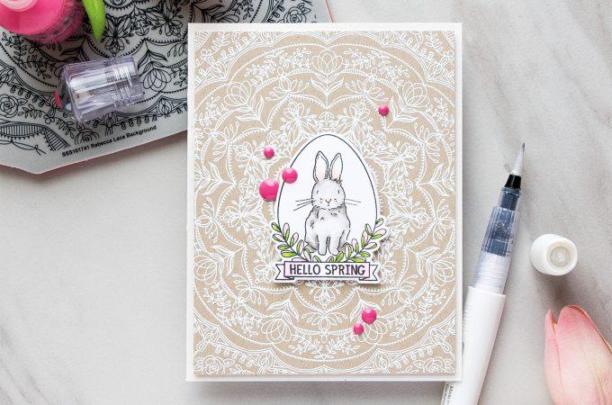 Simon Says Stamp   Hello Spring Bunny card by Yana Smakula using Spring Seeds SSS101700 and Rebecca Lace SSS101741 stamps from Simon Says Stamp. #stamping #adultcoloring #springcard #bunnycard